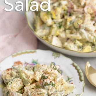 A plate of potato salad on a marble counter.