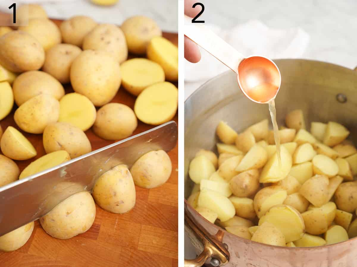 Potatoes getting chopped and then drizzled with vinegar after boiling for a potato salad.