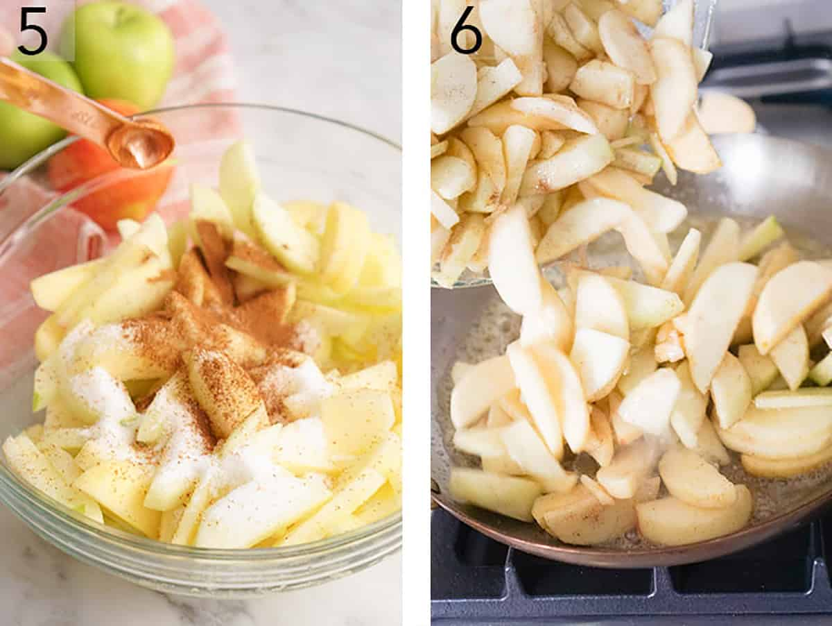Apple slices being mixed with sugar, nutmeg and cinnamon for an apple crumble pie.