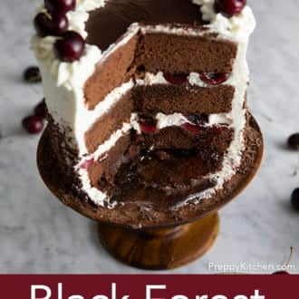 black forest cake on a cake stand