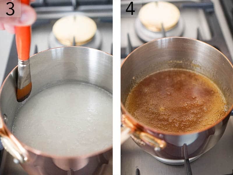 Sugar changing to a deep copper color as caramel is made.