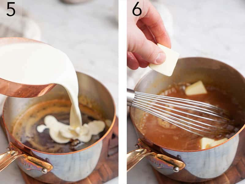Cream and butter getting whisked into caramel