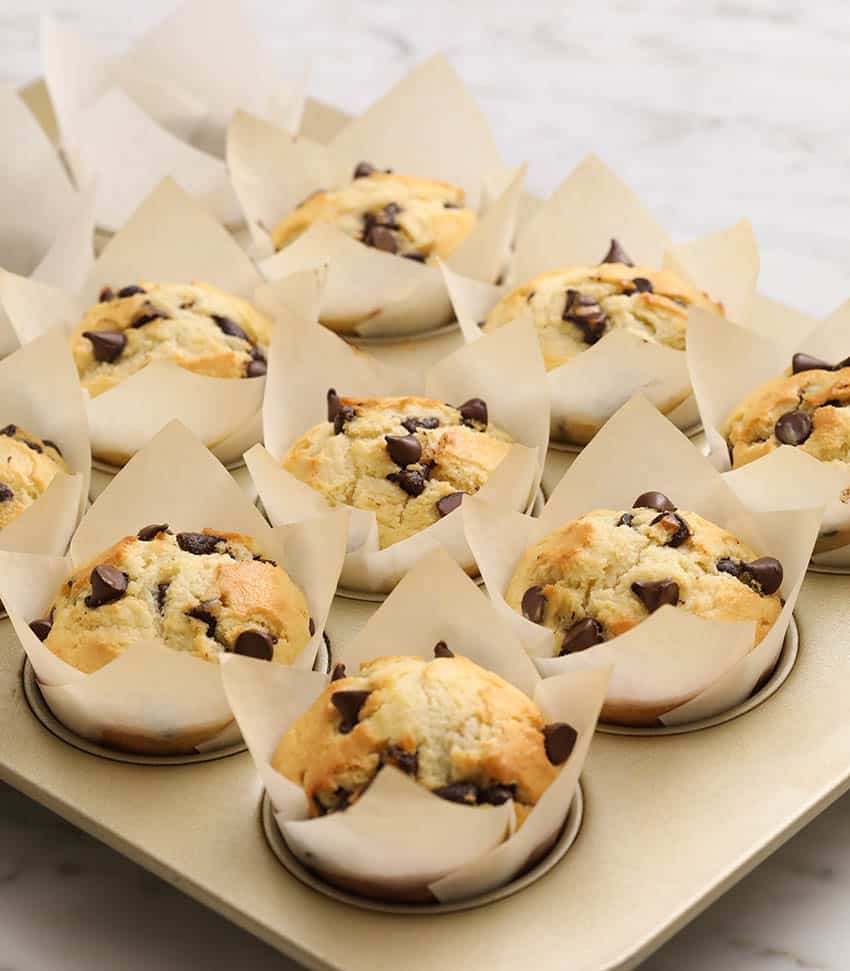 Freshly baked chocolate chip muffins in a gold muffin tin.