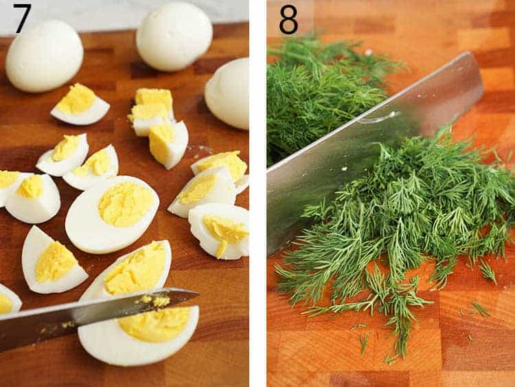 Hard boiled eggs getting quartered and fresh dill getting chopped.