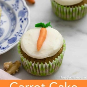 carrot cake cupcake on a counter