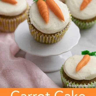 carrot cake cupcake on a stand