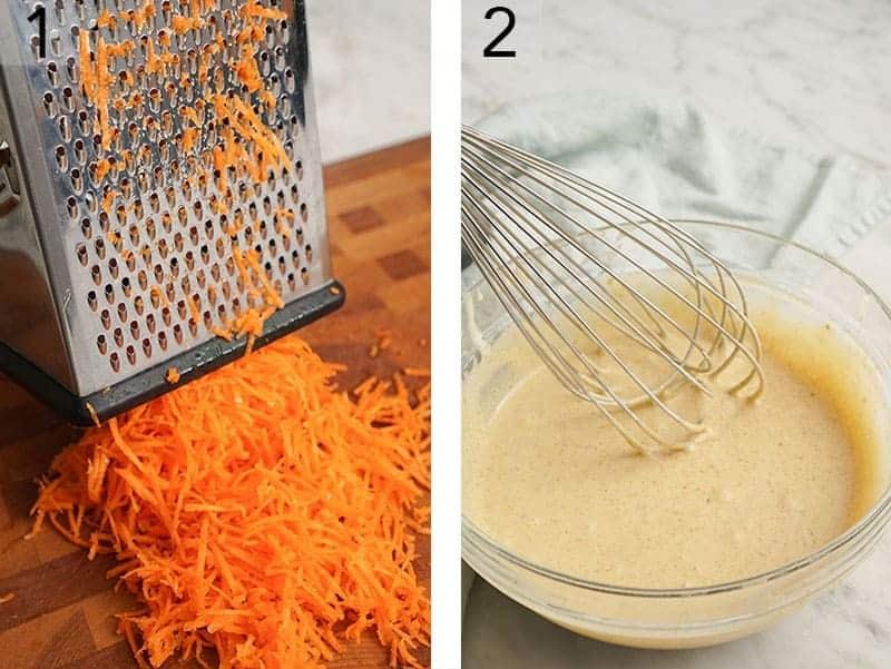 Carrots getting shredded for carrot cake cupcakes.
