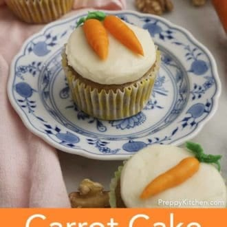 carrot cake cupcake on a plate