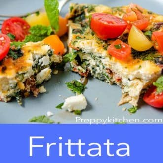 frittata on a blue plate