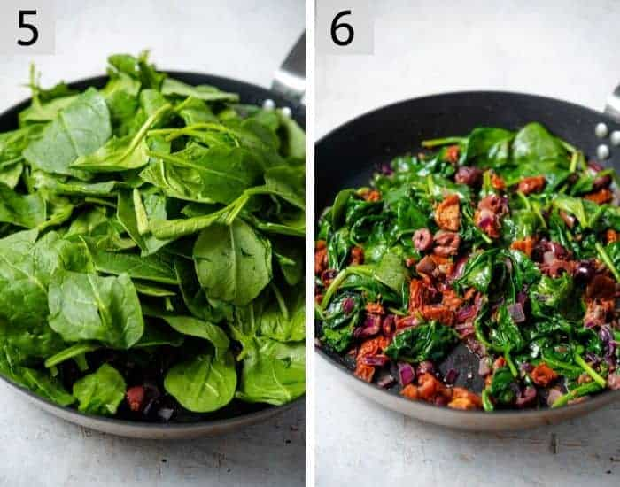 Two photos showing how to wilt spinach for a frittata