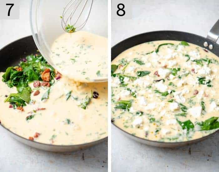Two photos showing pouring a egg mixture over vegetables to make a frittata