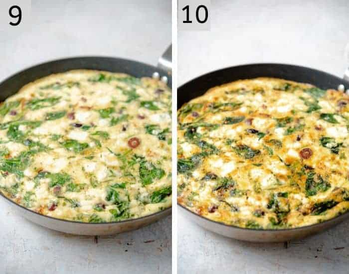 Two photos showing how to brown a frittata under the broiler