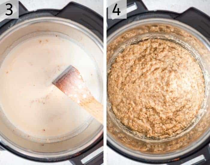 Two photos showing how to cook instant pot steel cut oats
