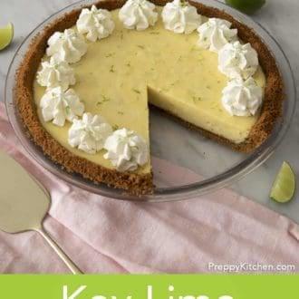 key lime pie in a glass pie dish