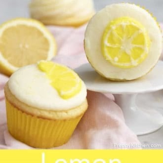 lemon cupcake with lemon frosting and lemon decoration
