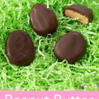 peanut butter eggs on a bed of easter basket grass