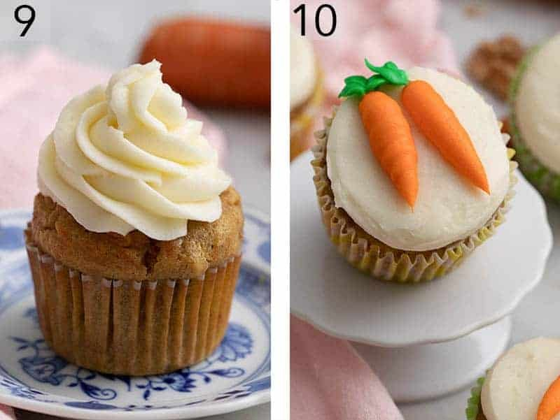 Carrot cake cupcakes decorated two different ways.