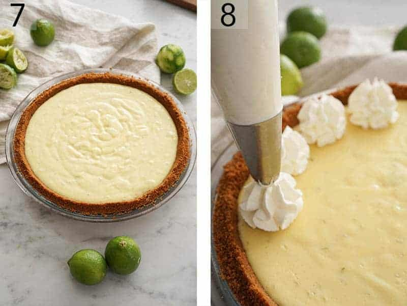 Key lime pie ready to go into the oven and then get piped with dollops of whipped cream.