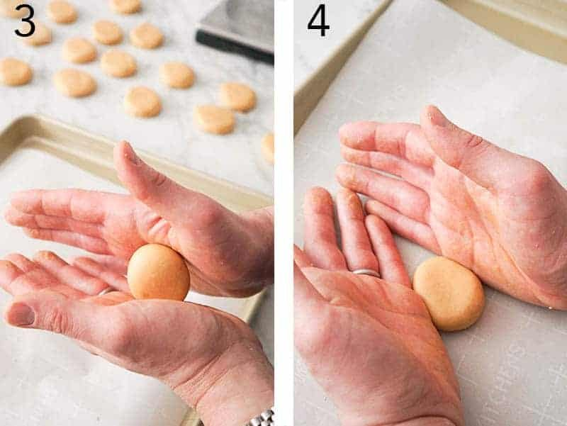 Peanut Butter Eggs getting rolled and shaped to look like eggs.