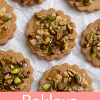 several baklava cookies on a paper