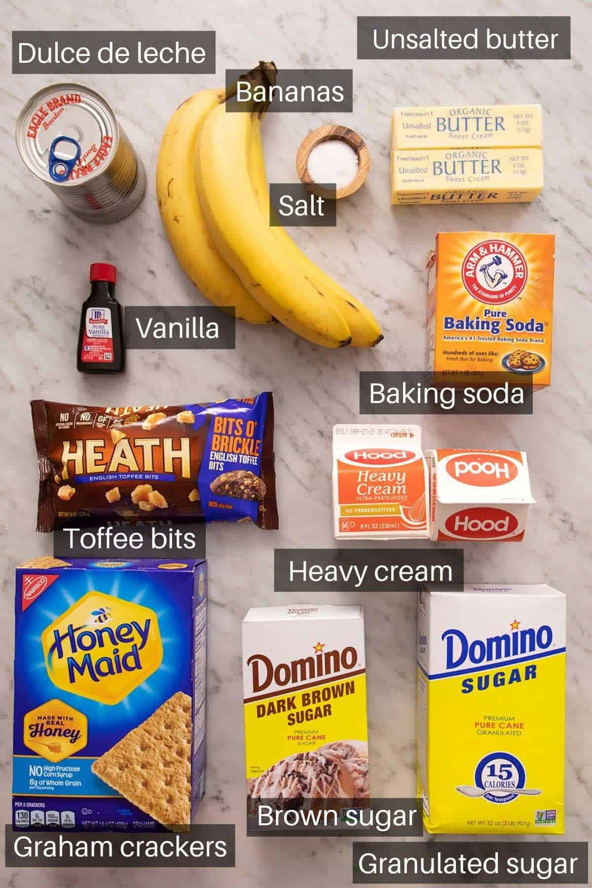 An overhead shot of all the ingredients you need to make banoffee pie