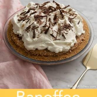 banoffee pie in a glass pie dish