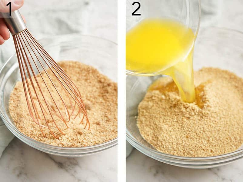 Graham cracker crumbs and sugar being mixed in a bowl.