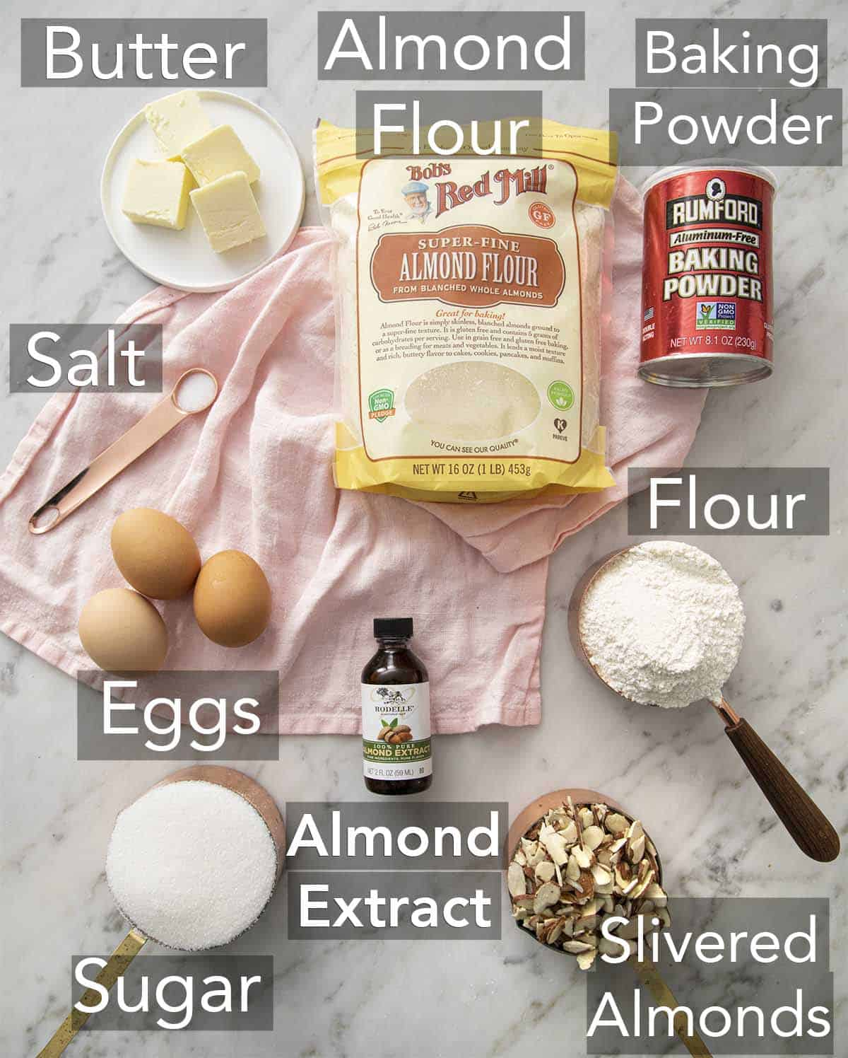 Biscotti Ingredients laid out on a counter.