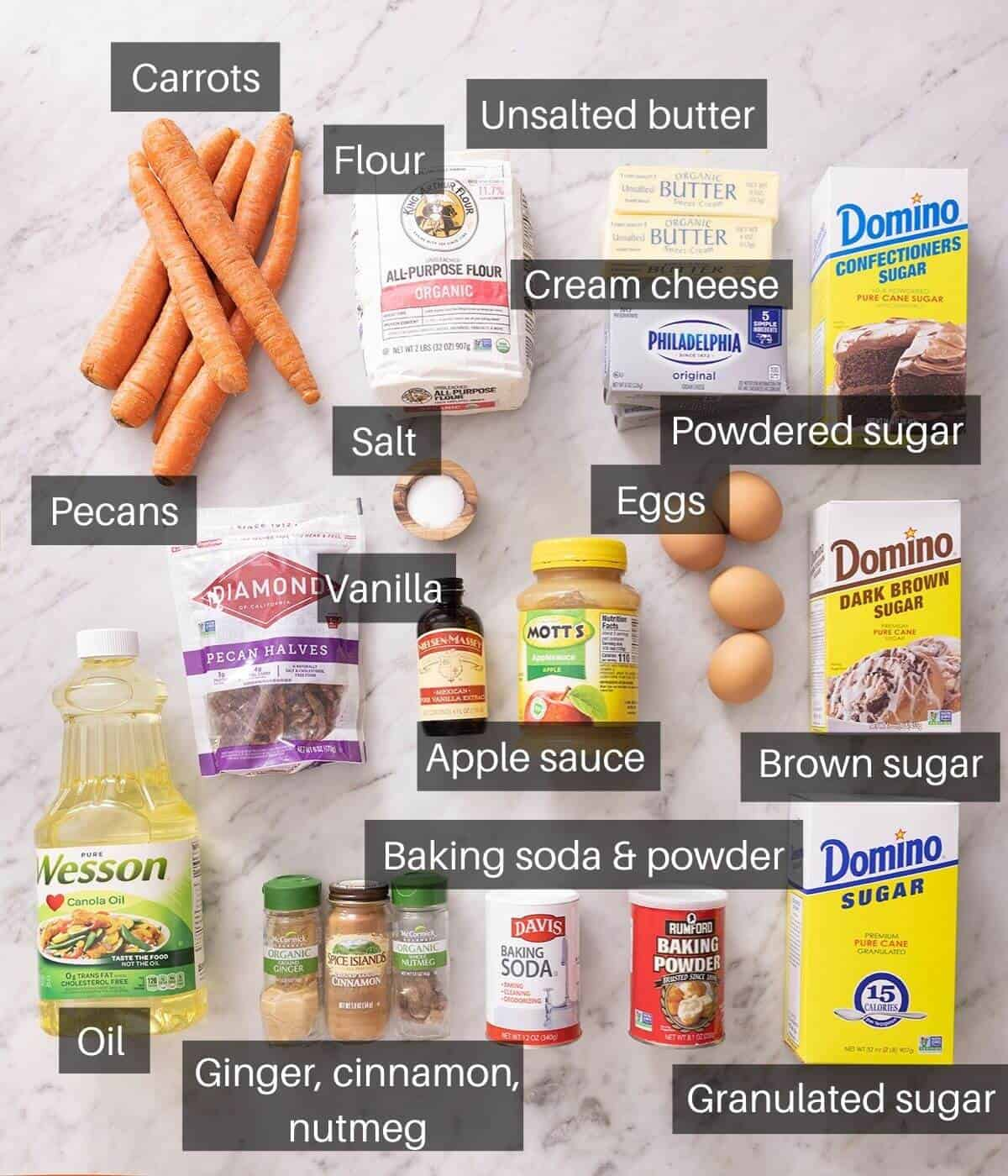 An overhead shot of all the ingredients you need to make carrot cake