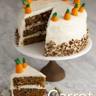 A big three layer carrot cake.