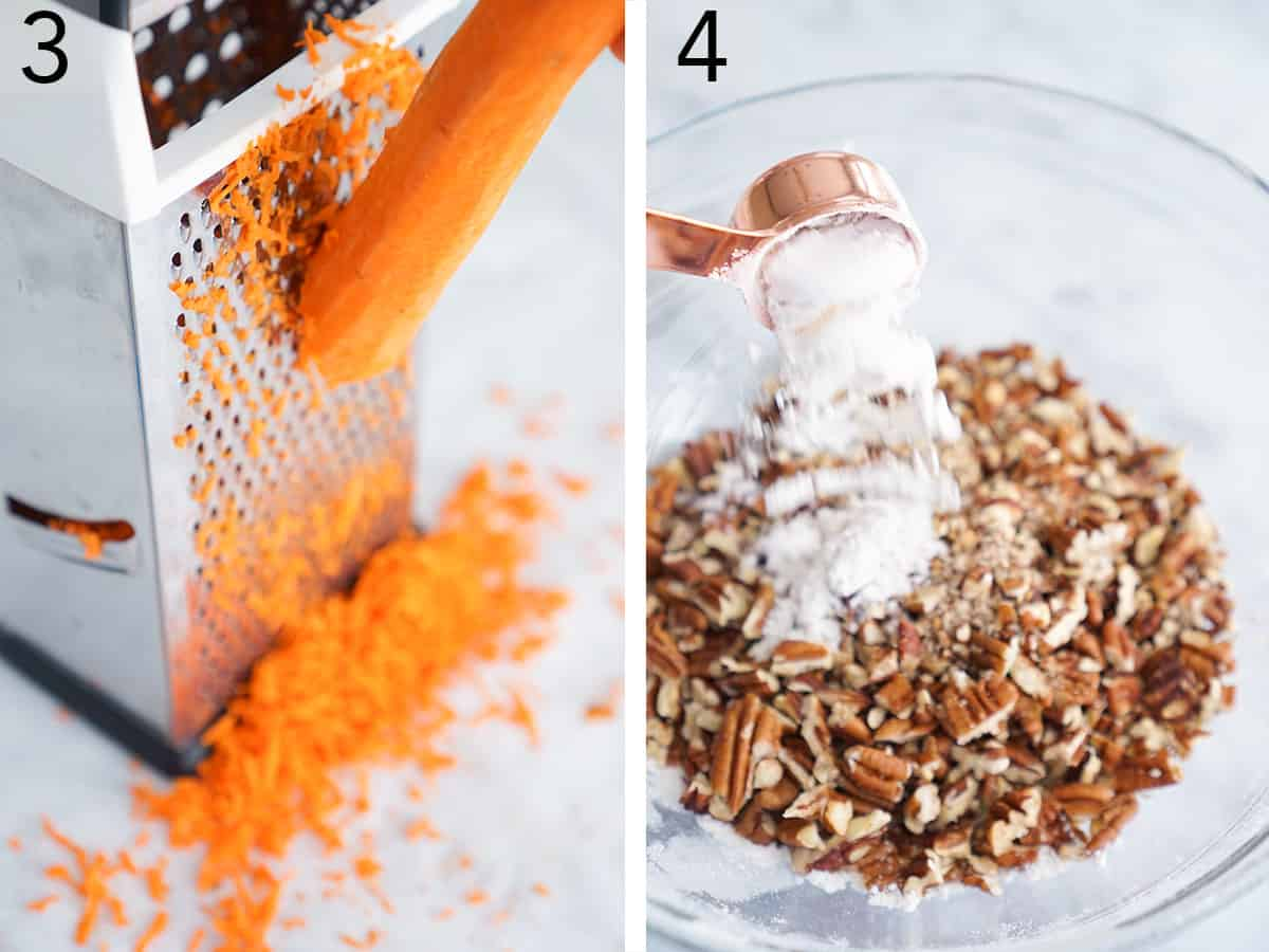 Carrots getting shredded and nuts tossed with pecans for carrot cake.
