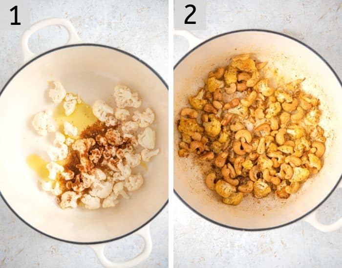 Two photos showing how to fry cauliflower and cashews with spices