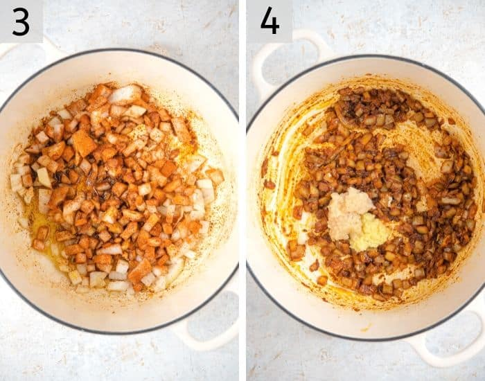 Two photos showing how to saute onion and spices