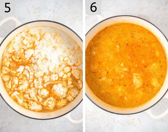Two photos showing how to make soup with cauliflower and coconut milk