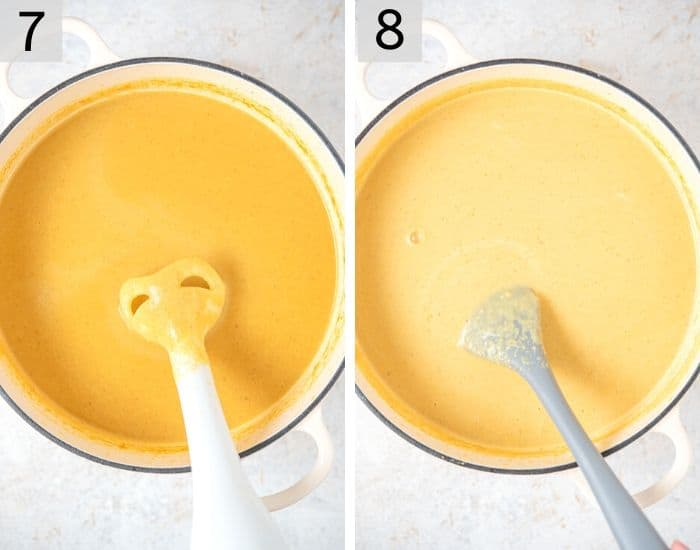 Two photos showing how to make creamy cauliflower soup