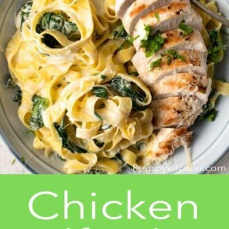 A pinterest graphic of chicken alfredo in a bowl