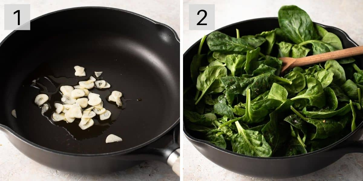 Two photos showing how to saute garlic and wilt spinach
