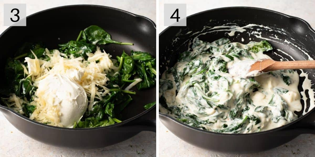Two photos showing how to make a creamy alfredo sauce