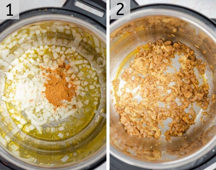 Tow photos showing how to saute onions, garlic and spices in an instant pot