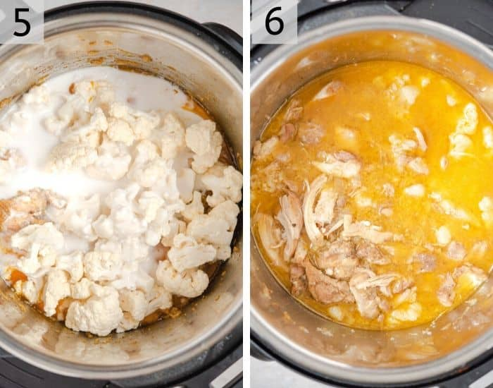 Two photos showing how to prepare chicken curry in the instant pot