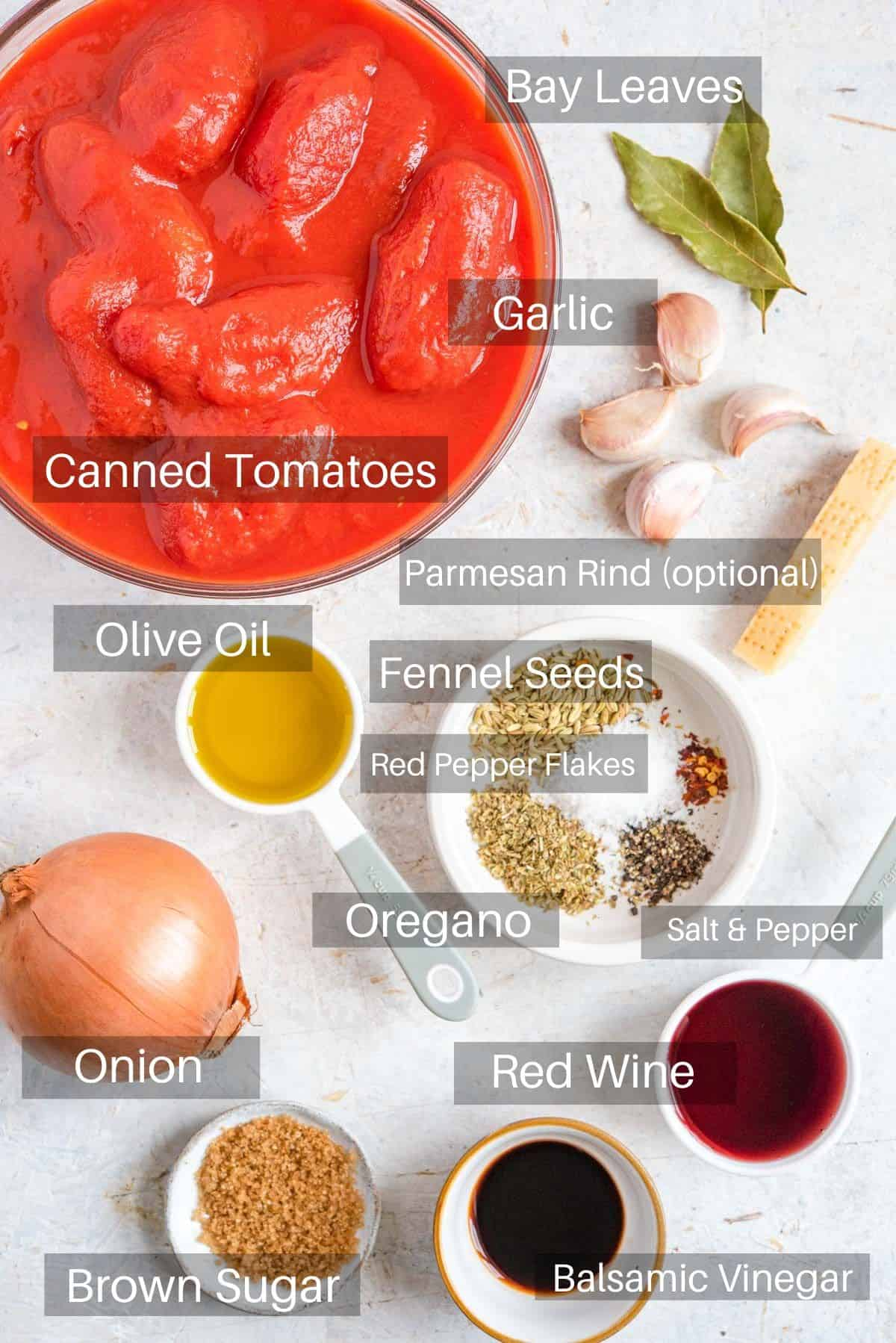 An overhead shot of ingredients you need to make Instant pot spaghetti sauce