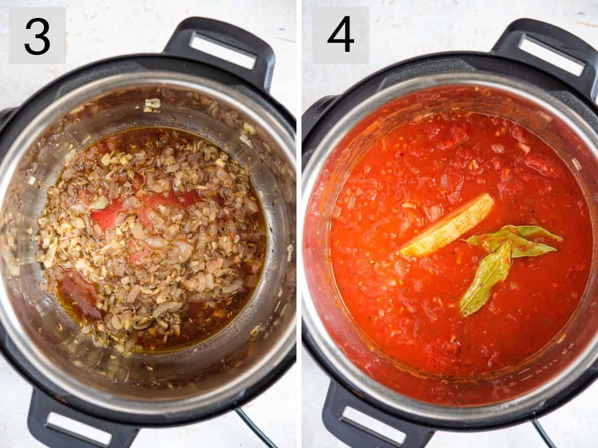 Two photos showing how to make tomato pasta sauce in an instant pot