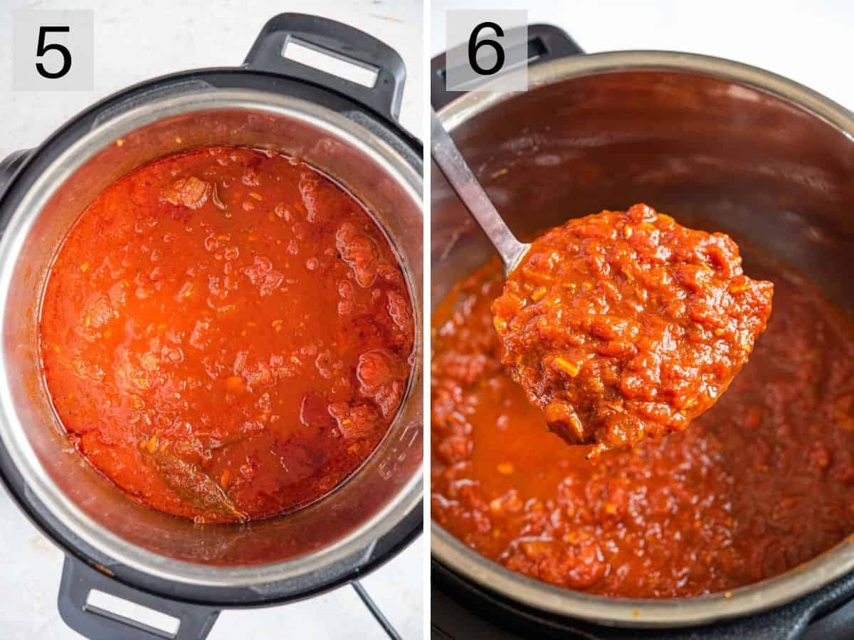 Two photos showing instant pot spaghetti sauce cooked and ready to serve
