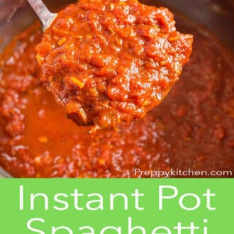 Instant pot spaghetti sauce in the pot