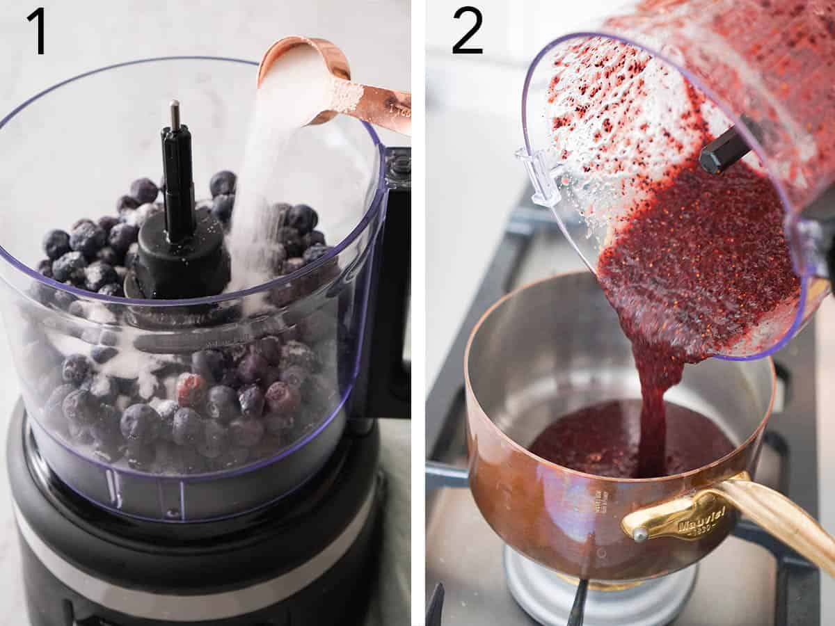 A blueberry reduction getting mixed and heated.