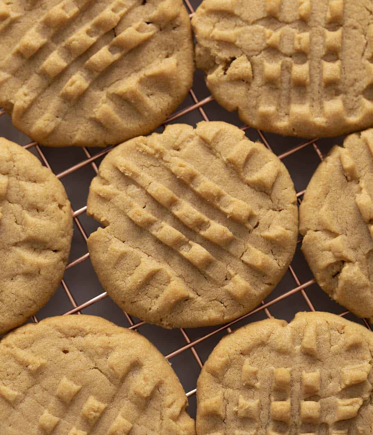 Peanut Butter Cookies cooling on a wire rack.