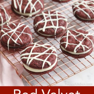 red velvet cookies on a cooling rack