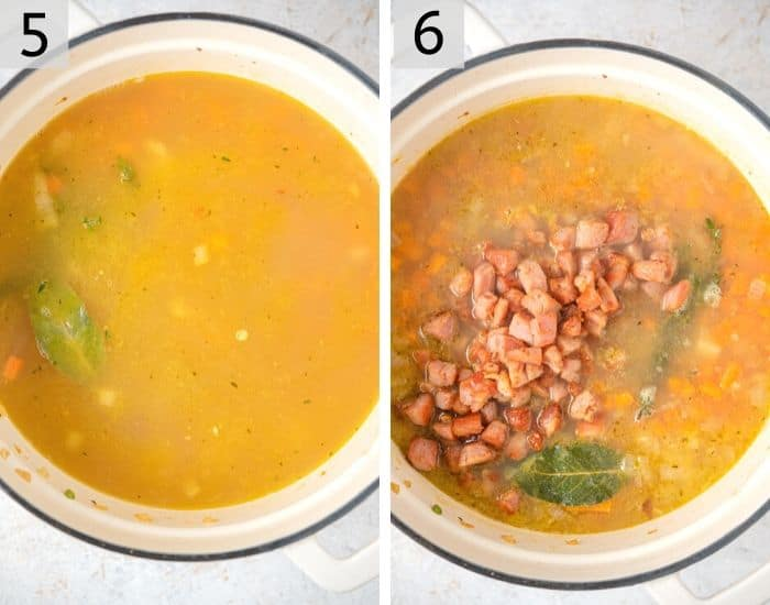 Two photos showing how to add ham and peas to stock