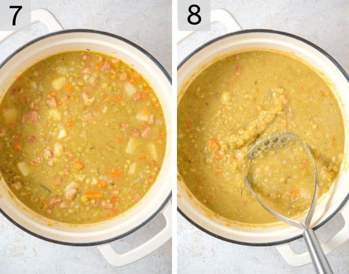 Two final photos showing how to make split pea soup