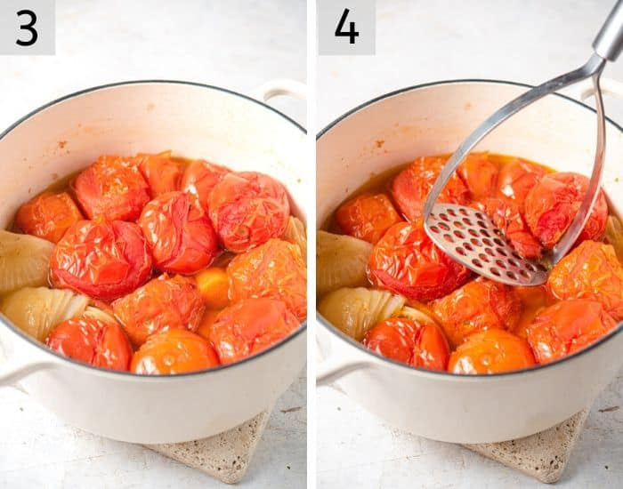 Two photos showing roasted tomatoes and mashing them with a potato masher